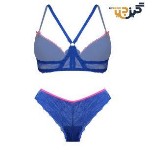 ست لباس زیر زنانه توری آبی صورتی کد:s128