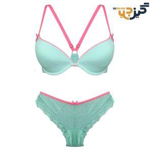 ست لباس زیر زنانه توری سبز صورتی کد:s129