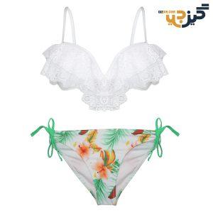 بیکینی توردار برند Diidoffen سفید با شورت طرحدار کد :mw110 156-1