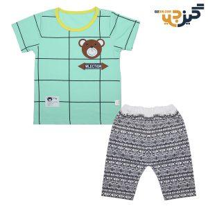 تیشرت و شلوار طرح خرس سبز کد:ch102-1