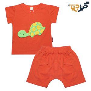 تیشرت و شلوارک طرح لاکپشت نارنجی کد :ch101-1