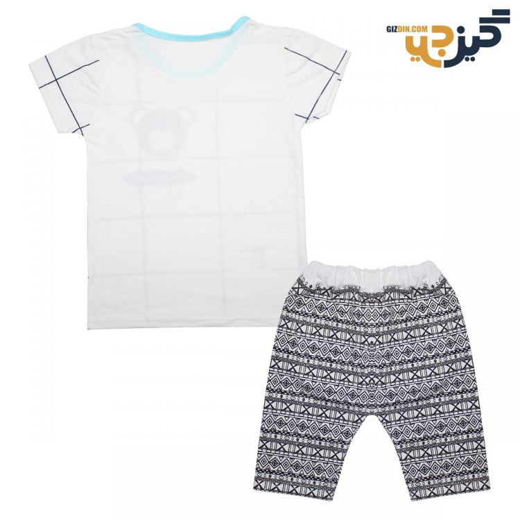 تیشرت و شلوار طرح خرس سفید کد:ch102-2