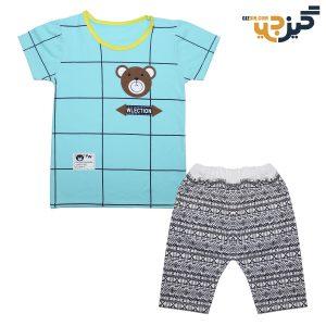 تیشرت و شلوار طرح خرس آبی کد:ch102-3