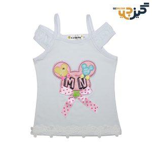 تاپ نخی دخترانه طرح میکی سفید کد: ch104-1
