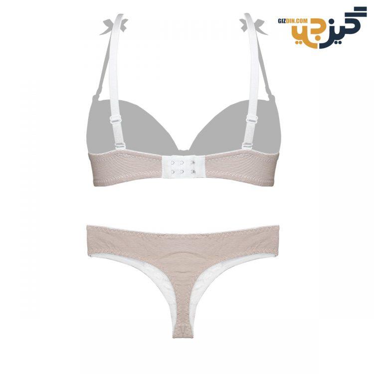 ست لباس زیر نخی قهوه ای پانیذ 28026 کد :s169-7