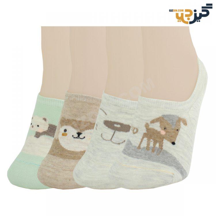جوراب مچی زنانه 81104 نخی رنگی طرح حیوانات کد:sow117