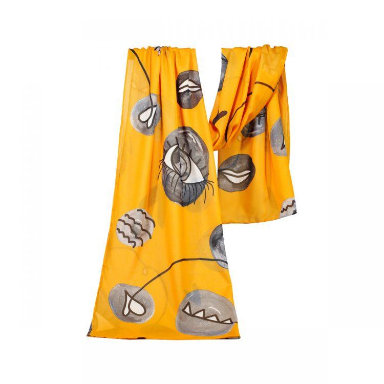 شال حریر طرح چشم نارنجی کد:R101-5