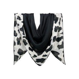 روسری نخی سفید مشکی طرح پلنگی کد:R105-1R2-1