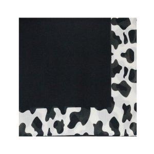 روسری نخی سفید مشکی طرح پلنگی کد:R105-1