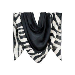 روسری نخی سفید مشکی طرح زبرا کد:R105-2R2-5