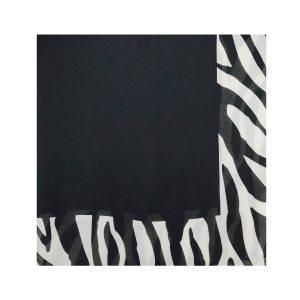 روسری نخی سفید مشکی طرح زبرا کد:R105-2