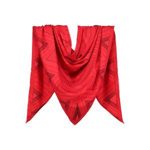 روسری نخی قرمز طرح هندسی کد:R106-1R3-1