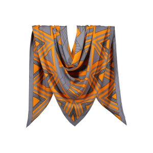 روسری نخی طوسی نارنجی طرح هندسی کد:R106-4R3-10