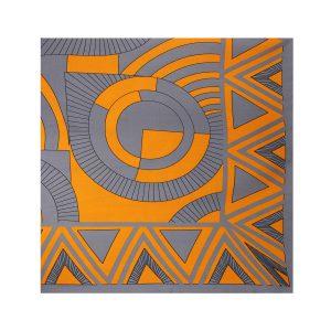 روسری نخی طوسی نارنجی طرح هندسی کد:R106-4