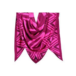 روسری نخی سرخابی طرح هندسی کد:R106-5R3-13
