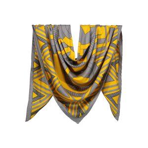 روسری نخی طوسی زرد طرح هندسی کد:R106-6R3-16