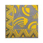 روسری نخی طوسی زرد طرح هندسی کد:R106-6