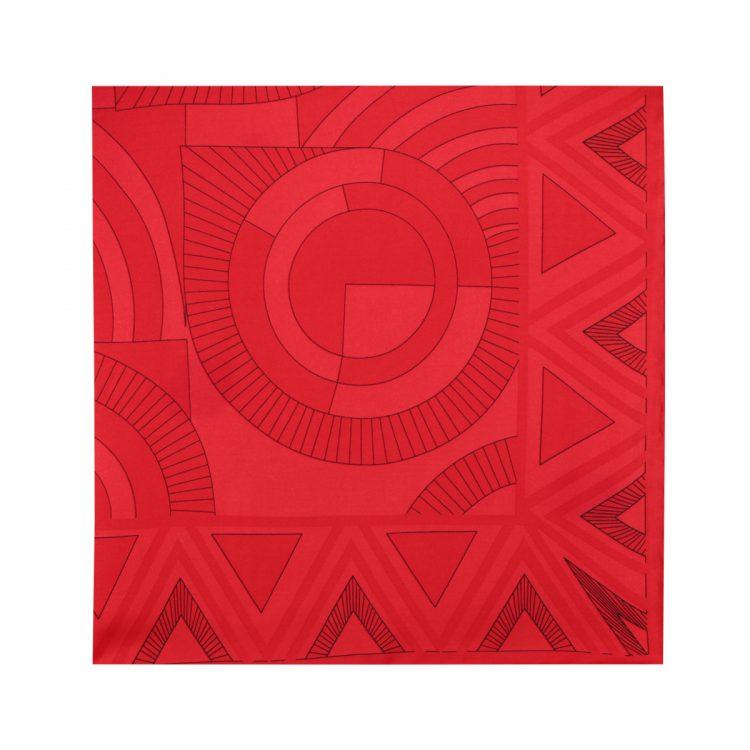 روسری نخی قرمز طرح هندسی کد:R106-1
