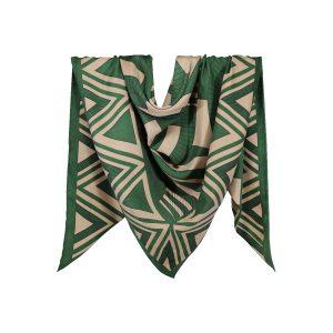 روسری نخی سبز طرح هندسی کد:R106-3R3-7