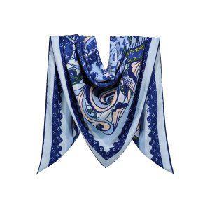 روسری نخی آبی طرح LV کد:R106-7R5-1