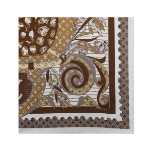 روسری نخی قهوه ای طرح LV کد:R106-9