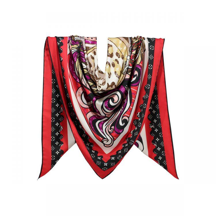 روسری نخی قرمز طرح LV کد:R106-10