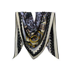 روسری نخی مشکی طرح LV کد:R106-8R5-5