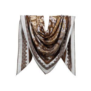 روسری نخی قهوه ای طرح LV کد:R106-9R5-9