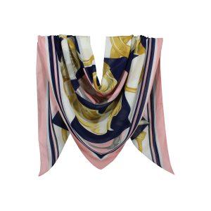 روسری نخی صورتی گلدار کد:R104-1R7-1