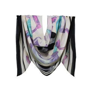 روسری نخی مشکی گلدار کد:R104-3R7-10