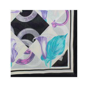 روسری نخی مشکی گلدار کد:R104-3