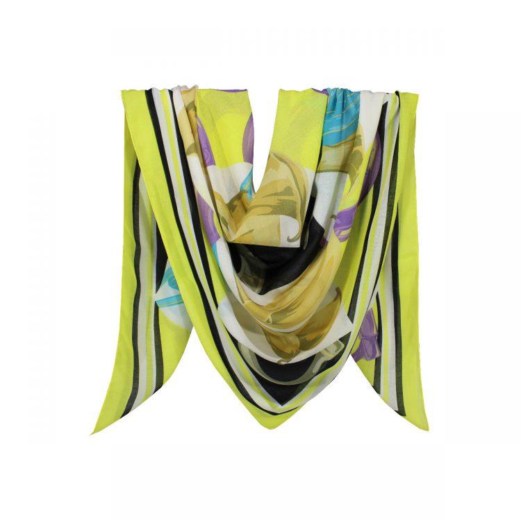 روسری نخی زرد گلدار کد:R104-5
