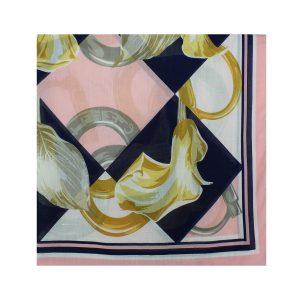 روسری نخی صورتی گلدار کد:R104-1