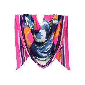 روسری نخی سرخابی گلدار کد:R104-6R7-22