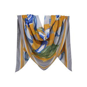 روسری نخی طوسی گلدار کد:R104-2R7-6