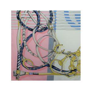 روسری توییل صورتی طرح GUCCI کد:R107-2