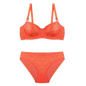 ست لباس زیر نارنجی توری برند BENITA کد:s364-2689-12