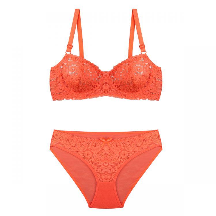 ست لباس زیر نارنجی توری برند BENITA کد:s364-2