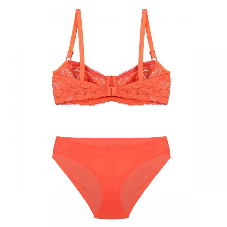 پشت ست لباس زیر نارنجی توری برند BENITA کد:s364-2