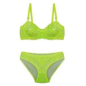 ست لباس زیر سبز فسفری توری برند BENITA کد:s364-3689-23