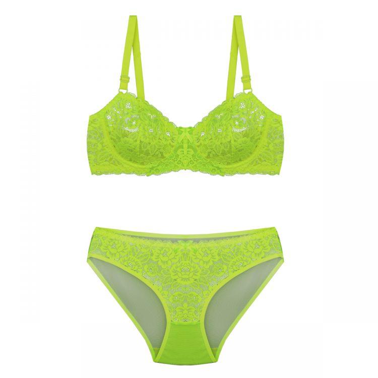 ست لباس زیر سبز فسفری توری برند BENITA کد:s364-3