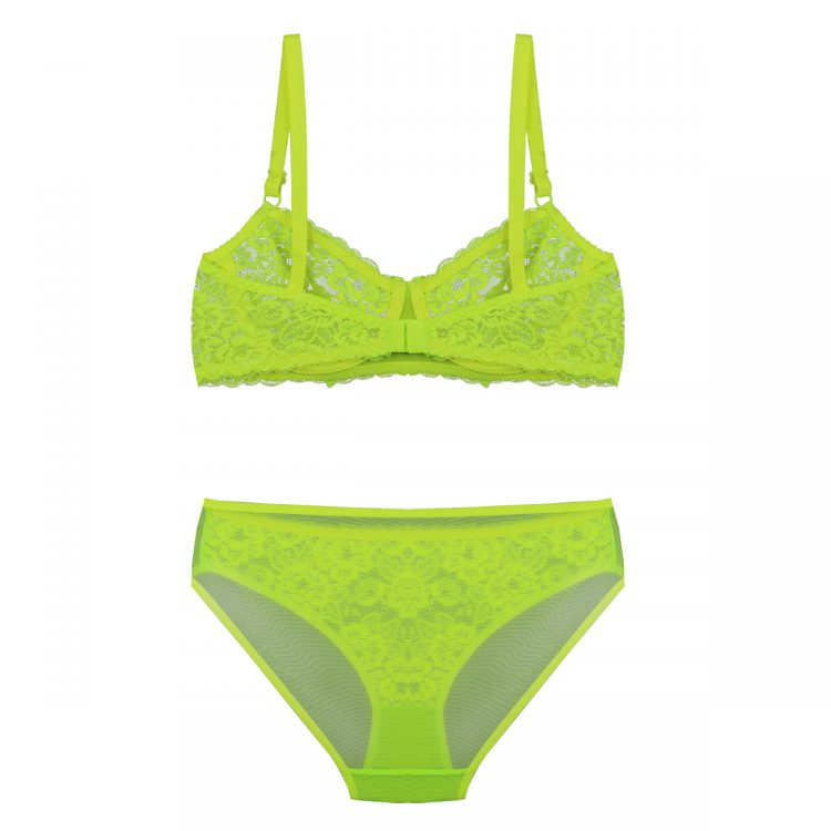 پشت ست لباس زیر سبز فسفری توری برند BENITA کد:s364-3