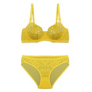 ست لباس زیر زرد توری برند BENITA کد:s364-6689-47