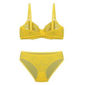 پشت ست لباس زیر زرد توری برند BENITA کد:s364-6