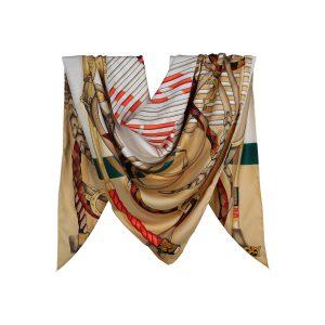 روسری توییل طلایی طرح GUCCI کد:R107-4R8-13