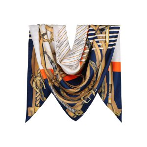 روسری توییل سرمه ای طرح GUCCI کد:R107-6R8-21
