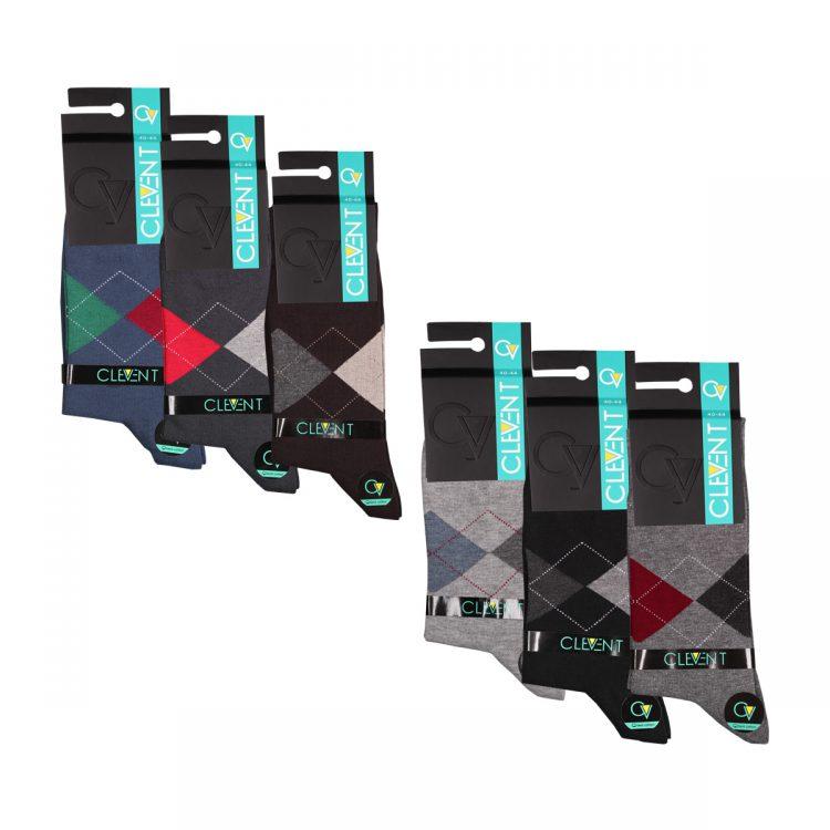 جوراب مردانه 6-102 ساق دار بسته 6 عددی برند CLEVENT کد:som102-6