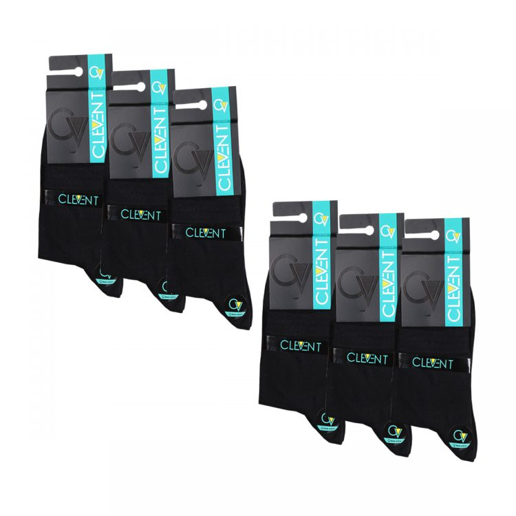 جوراب مردانه مشکی نیم ساق بسته 6 عددی برند CLEVENT کد:som101-2